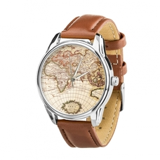 "Wristwatch ""World Map"" (+ black strap)"