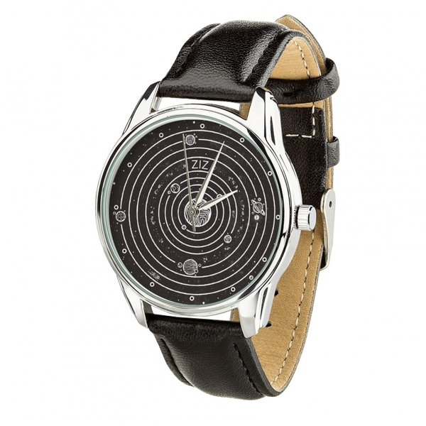 "Wristwatch ""Planets"" (+ brown strap)"