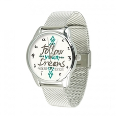 """Steel wristwatch """"For my dream"""" (+ eco-leather strap)"""