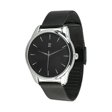 "Steel wristwatch ""White on Black"" (+ eco-leather strap)"