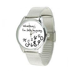 """Steel wristwatch """"Late white"""" (+ eco-leather strap)"""