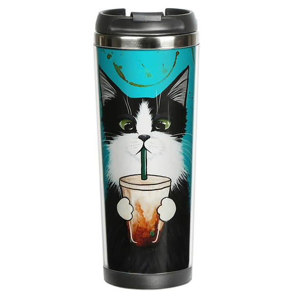 """Thermal mug """"Cat with a glass"""""""