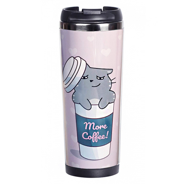 "Thermo mug ""Cat-coffee addict"""