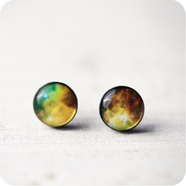 "Earrings ""Nebula Green"""